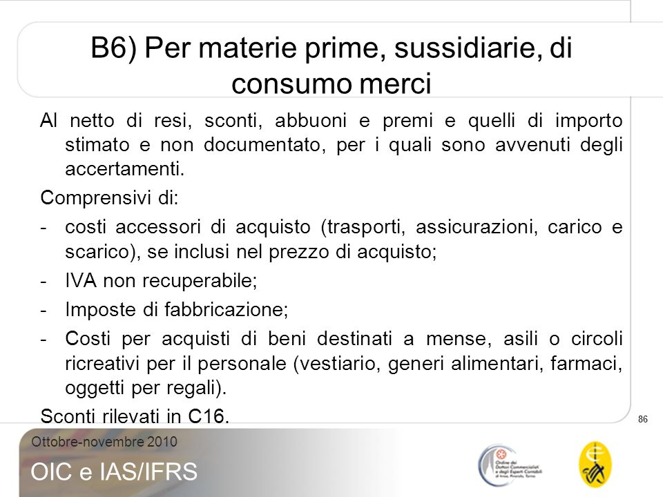 B6) Per materie prime, sussidiarie, di consumo merci