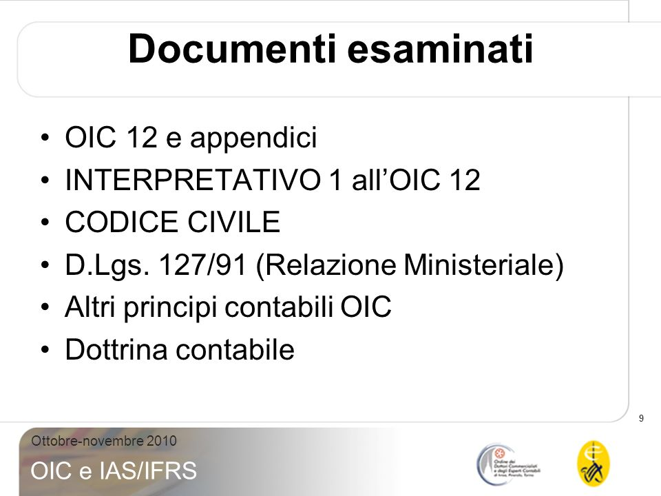 Documenti esaminati OIC 12 e appendici INTERPRETATIVO 1 all'OIC 12