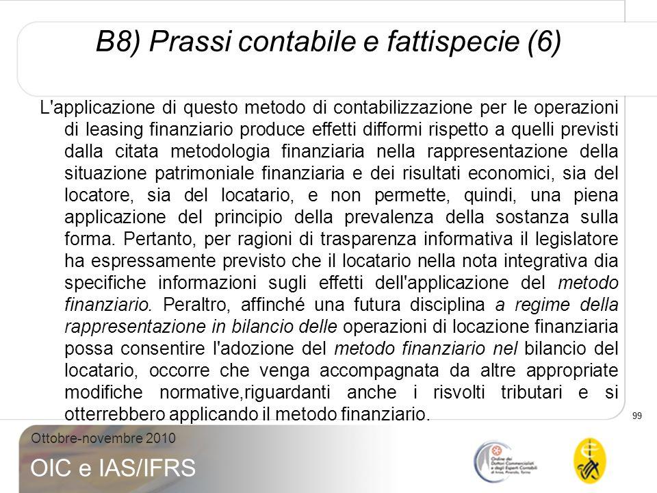 B8) Prassi contabile e fattispecie (6)