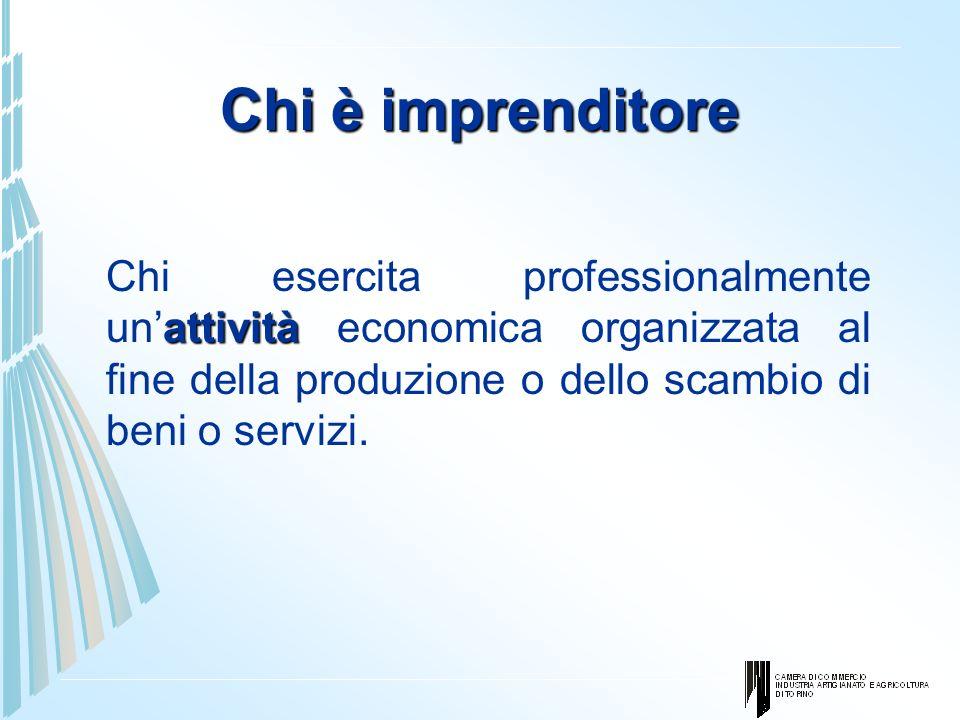Chi è imprenditore Chi esercita professionalmente un'attività economica organizzata al fine della produzione o dello scambio di beni o servizi.