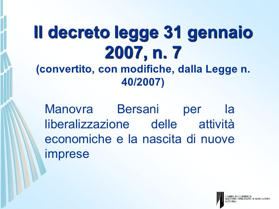 Il decreto legge 31 gennaio 2007, n