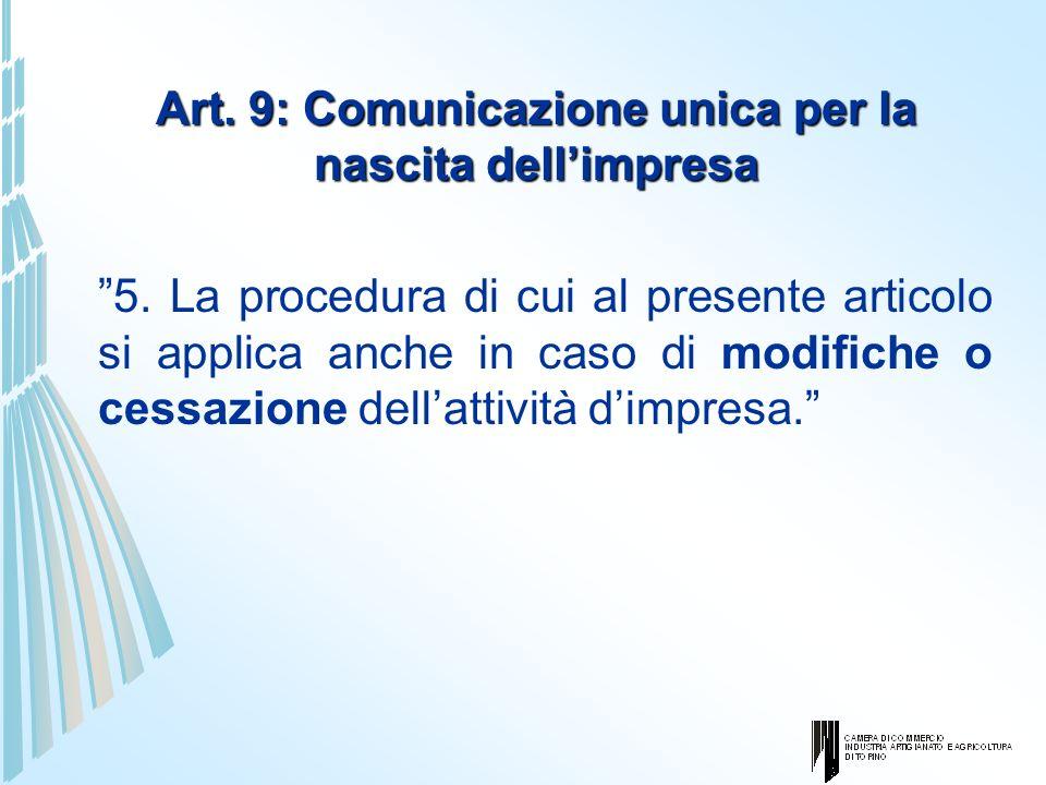 Art. 9: Comunicazione unica per la nascita dell'impresa
