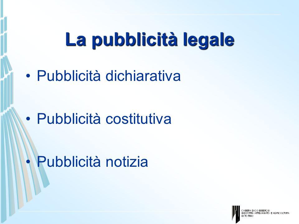 La pubblicità legale Pubblicità dichiarativa Pubblicità costitutiva