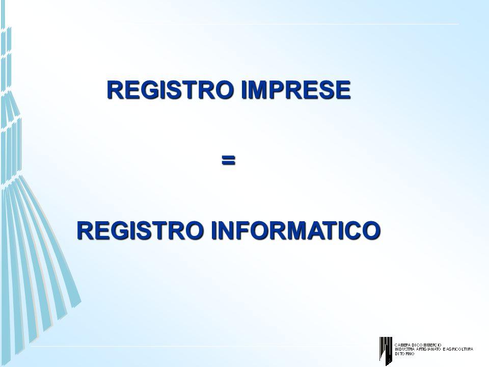 REGISTRO IMPRESE = REGISTRO INFORMATICO