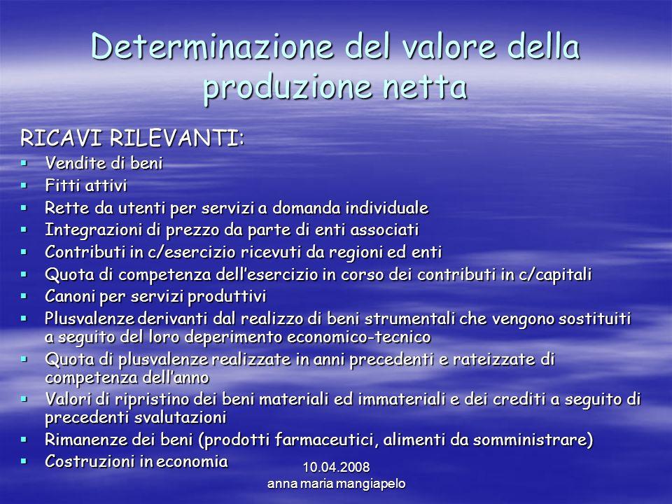 Determinazione del valore della produzione netta