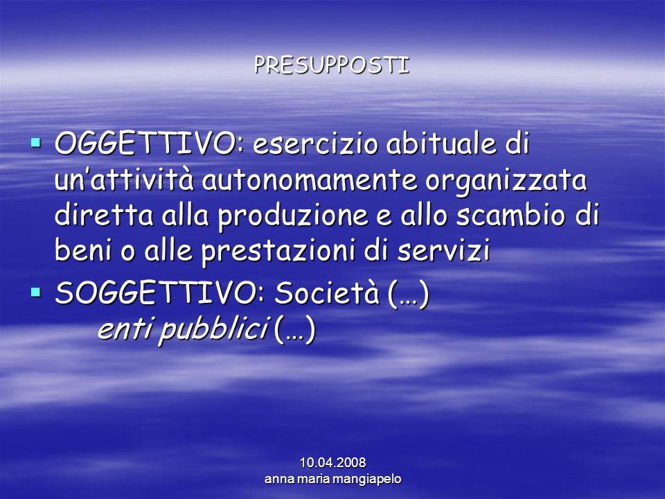 SOGGETTIVO: Società (…) enti pubblici (…)