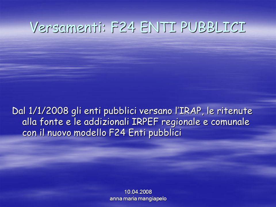 Versamenti: F24 ENTI PUBBLICI