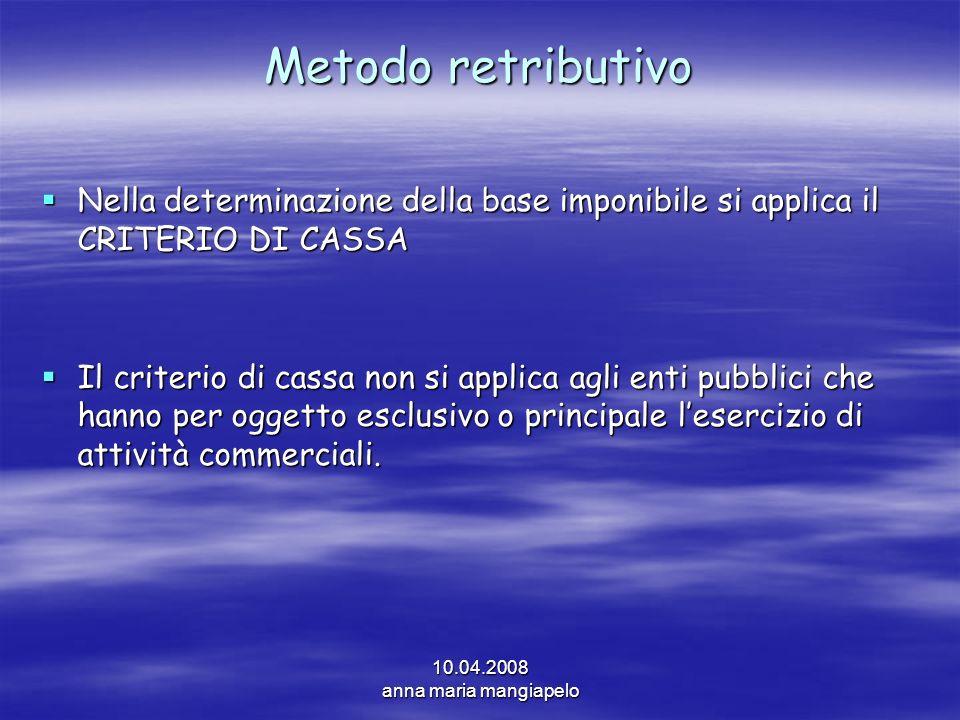 Metodo retributivo Nella determinazione della base imponibile si applica il CRITERIO DI CASSA.