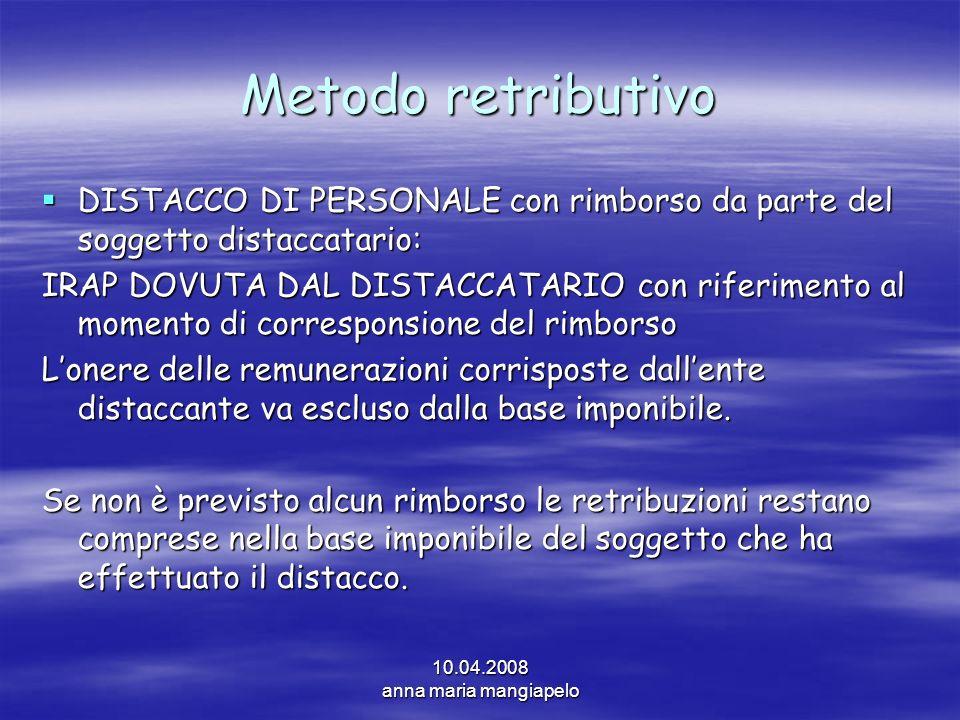 Metodo retributivo DISTACCO DI PERSONALE con rimborso da parte del soggetto distaccatario: