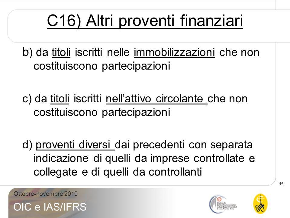 C16) Altri proventi finanziari