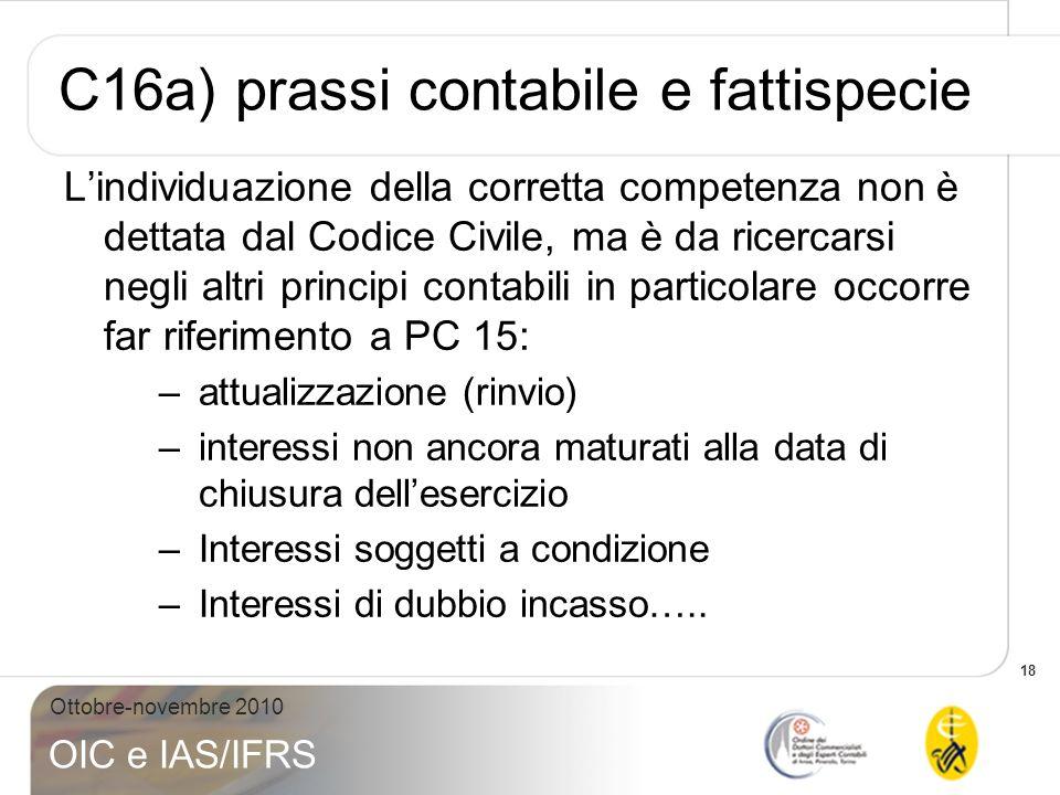 C16a) prassi contabile e fattispecie