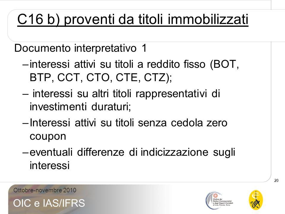 C16 b) proventi da titoli immobilizzati