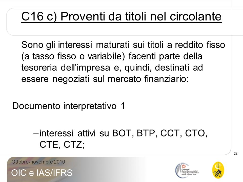 C16 c) Proventi da titoli nel circolante