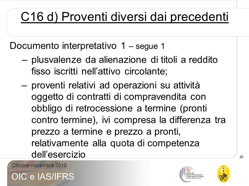 C16 d) Proventi diversi dai precedenti