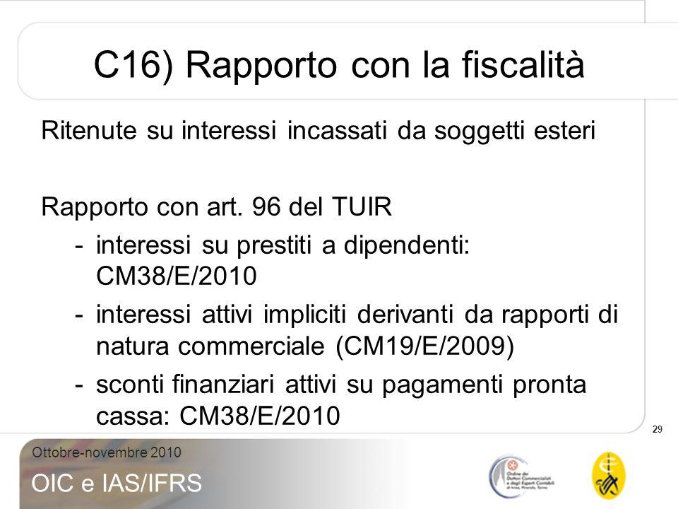 C16) Rapporto con la fiscalità