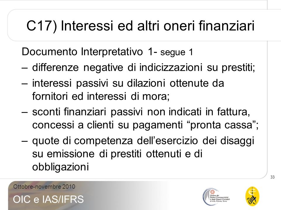 C17) Interessi ed altri oneri finanziari