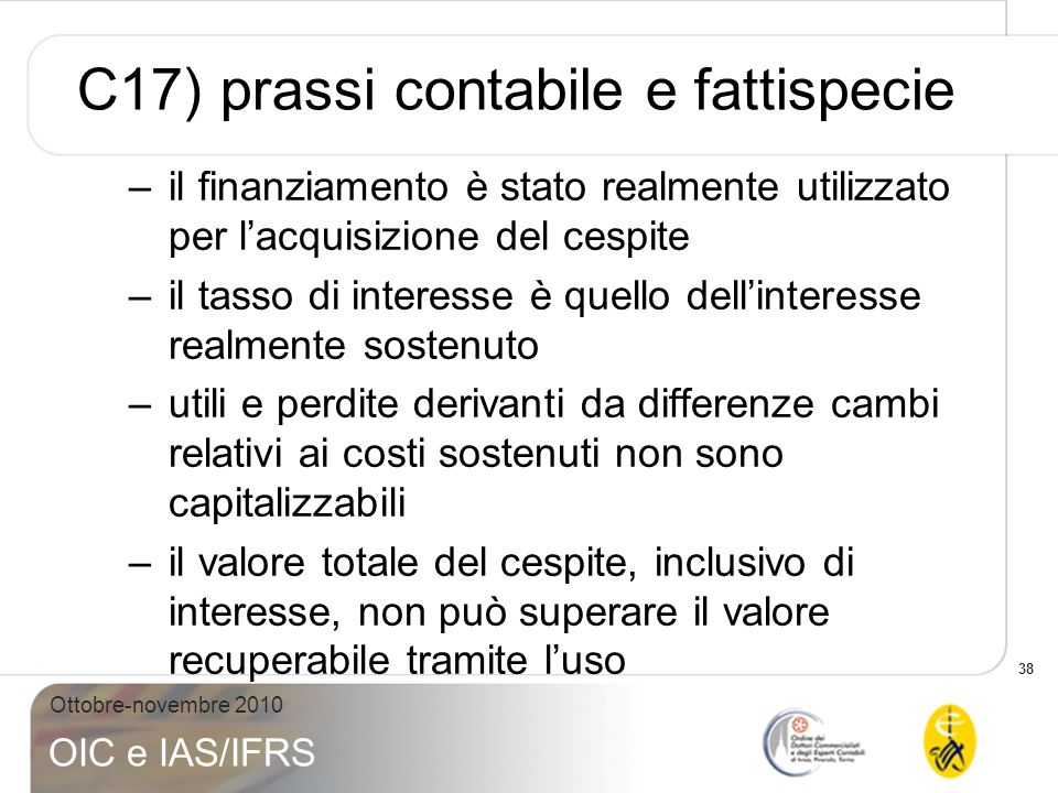 C17) prassi contabile e fattispecie