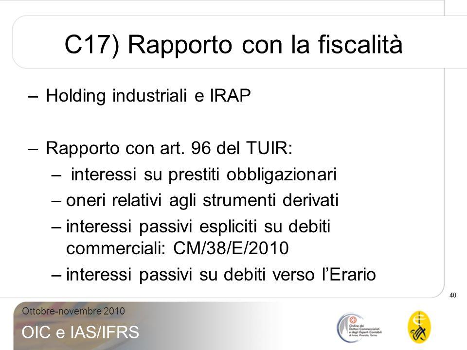 C17) Rapporto con la fiscalità
