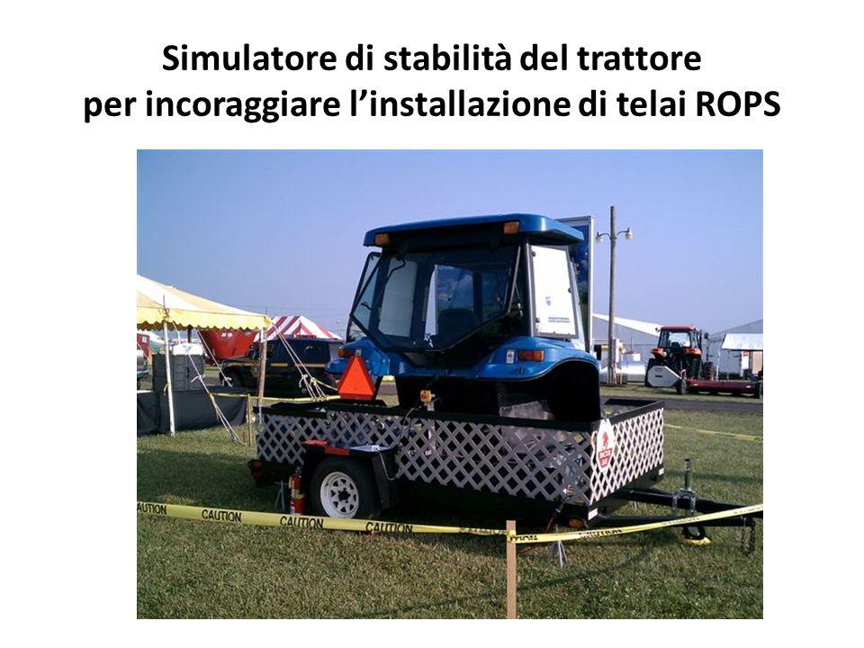 Simulatore di stabilità del trattore per incoraggiare l'installazione di telai ROPS