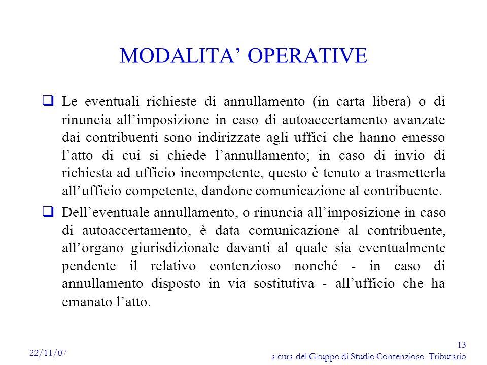 MODALITA' OPERATIVE