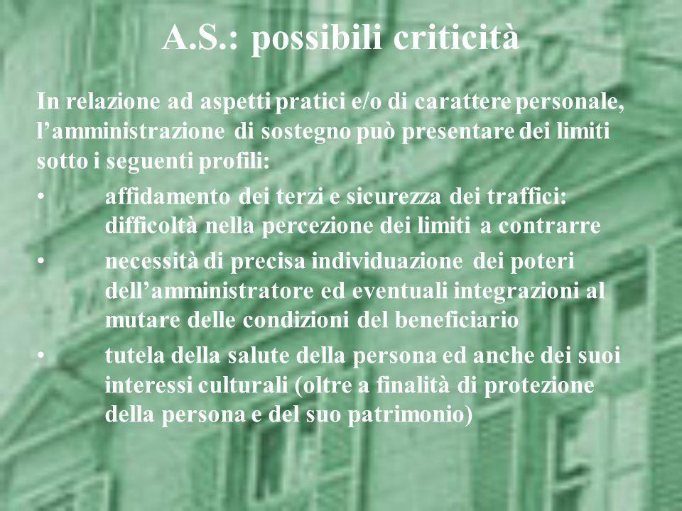 A.S.: possibili criticità