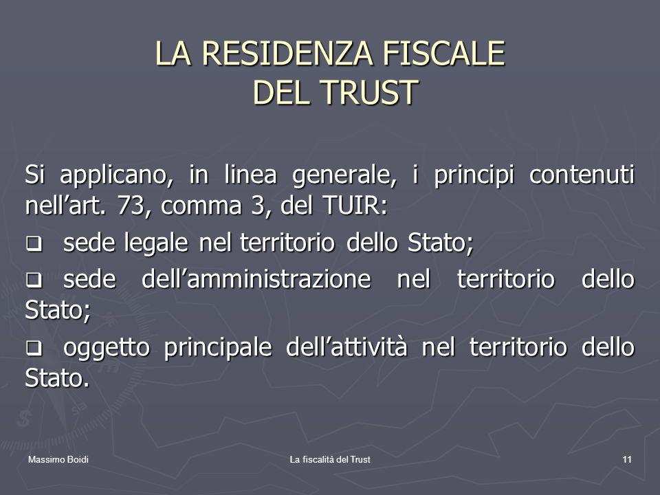 LA RESIDENZA FISCALE DEL TRUST