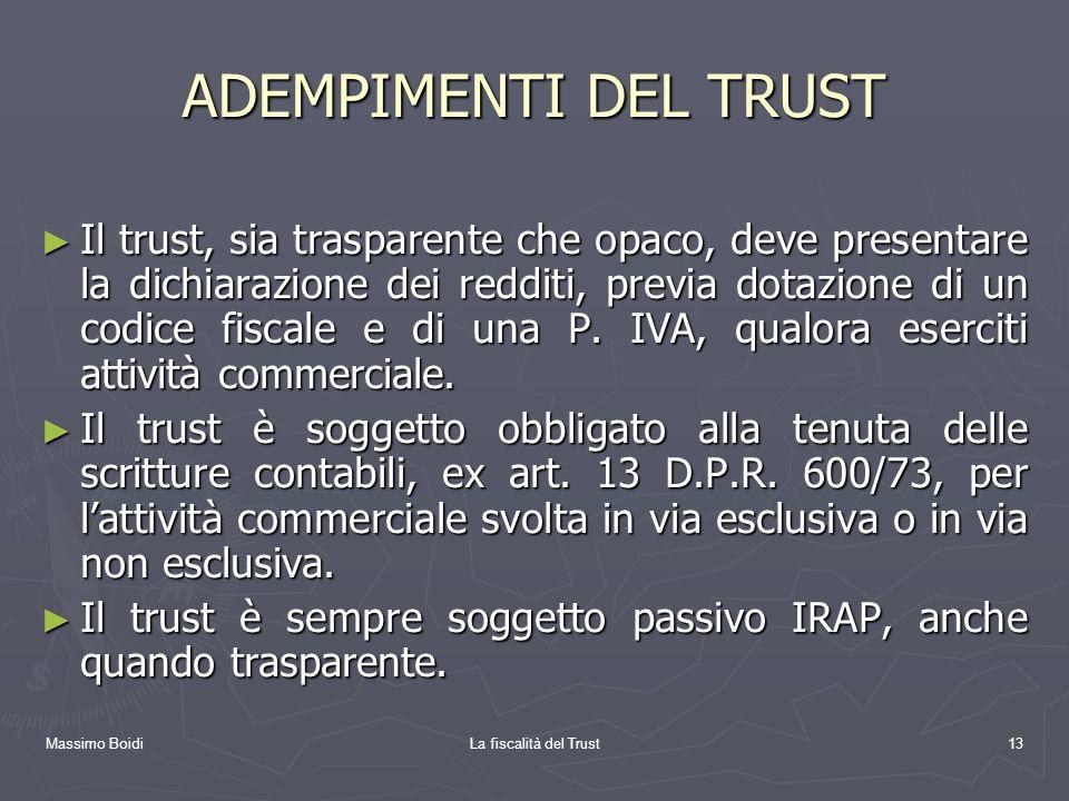 ADEMPIMENTI DEL TRUST