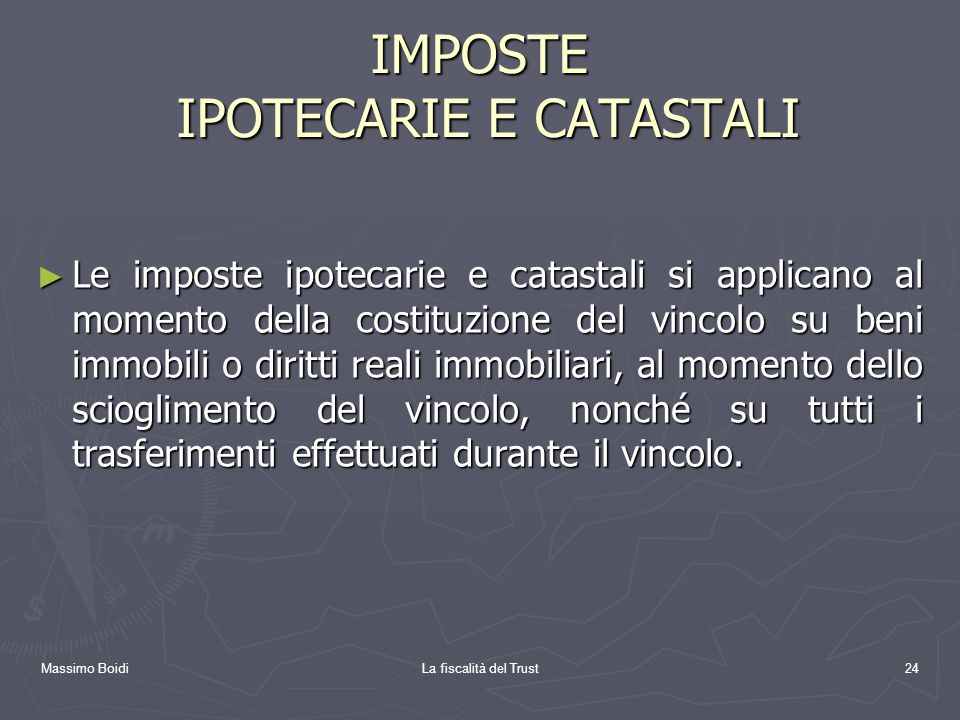 IMPOSTE IPOTECARIE E CATASTALI