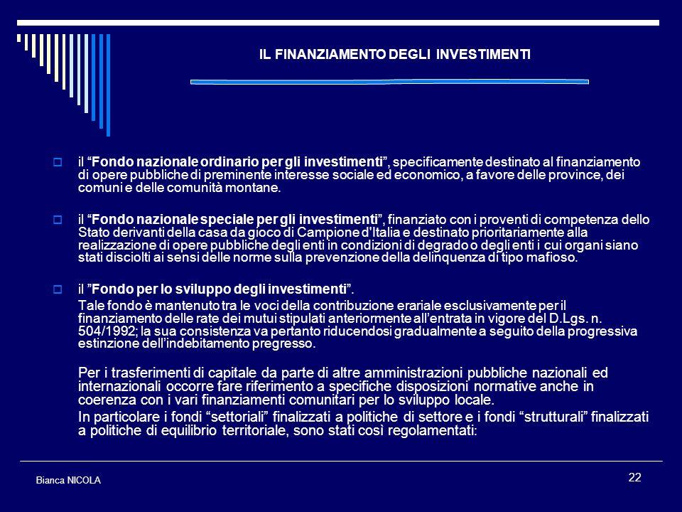 IL FINANZIAMENTO DEGLI INVESTIMENTI