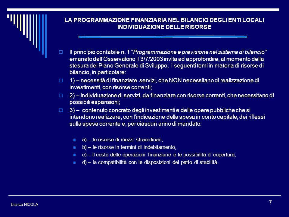 LA PROGRAMMAZIONE FINANZIARIA NEL BILANCIO DEGLI ENTI LOCALI INDIVIDUAZIONE DELLE RISORSE