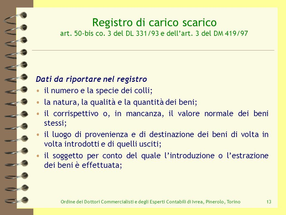 Registro di carico scarico art. 50-bis co. 3 del DL 331/93 e dell'art