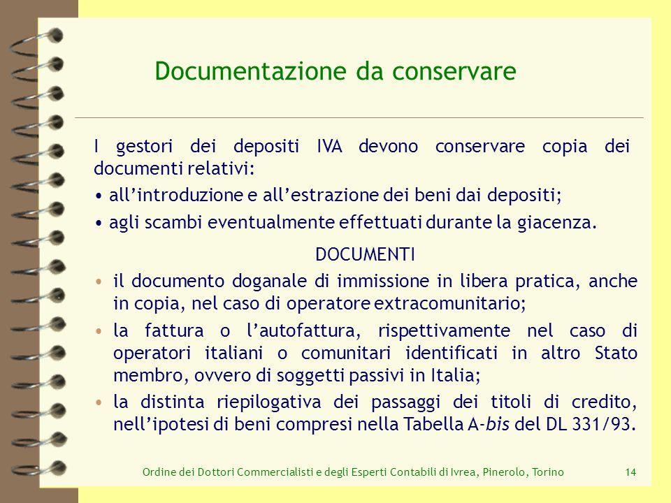 Documentazione da conservare