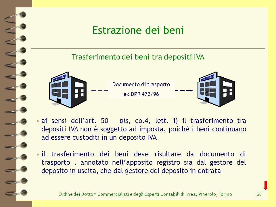 Estrazione dei beni Trasferimento dei beni tra depositi IVA