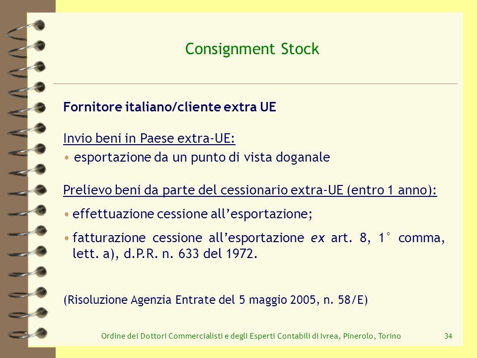 Consignment Stock Fornitore italiano/cliente extra UE