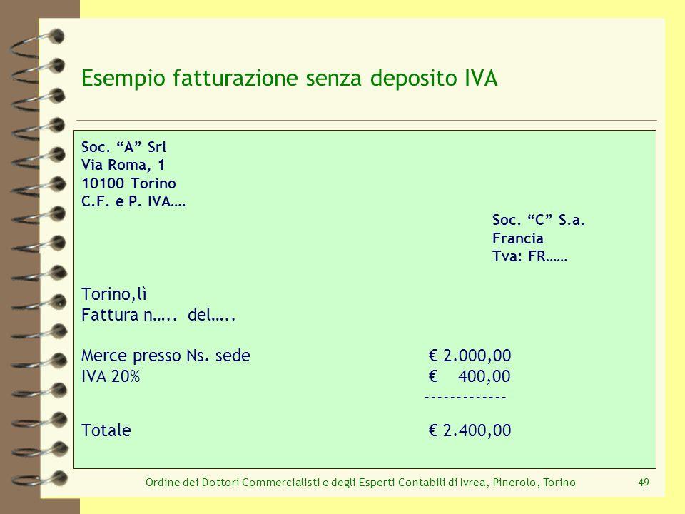 Esempio fatturazione senza deposito IVA