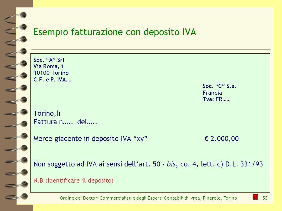 Esempio fatturazione con deposito IVA