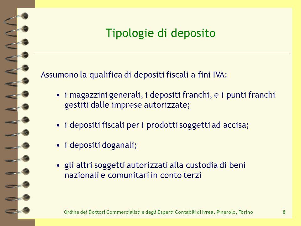 Tipologie di deposito Assumono la qualifica di depositi fiscali a fini IVA: