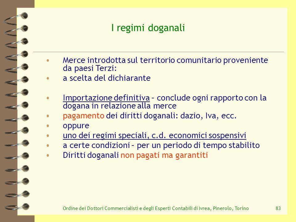 I regimi doganali Merce introdotta sul territorio comunitario proveniente da paesi Terzi: a scelta del dichiarante.