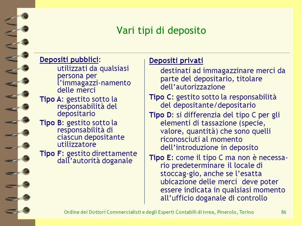Vari tipi di deposito Depositi pubblici: Depositi privati