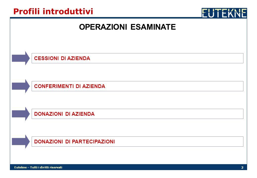 Profili introduttivi OPERAZIONI ESAMINATE CESSIONI DI AZIENDA