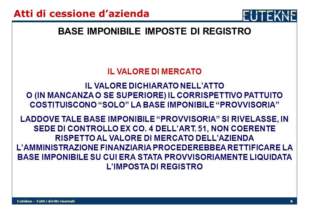 BASE IMPONIBILE IMPOSTE DI REGISTRO