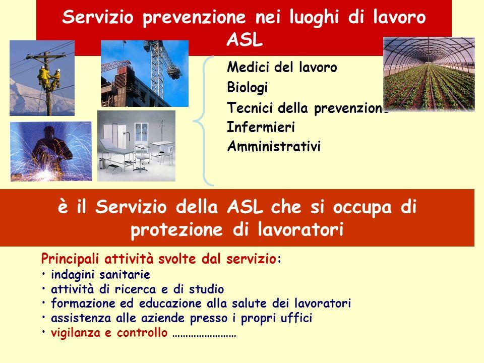 Servizio prevenzione nei luoghi di lavoro ASL