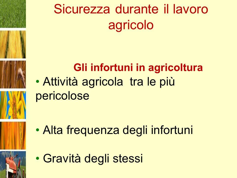 Sicurezza durante il lavoro agricolo Gli infortuni in agricoltura