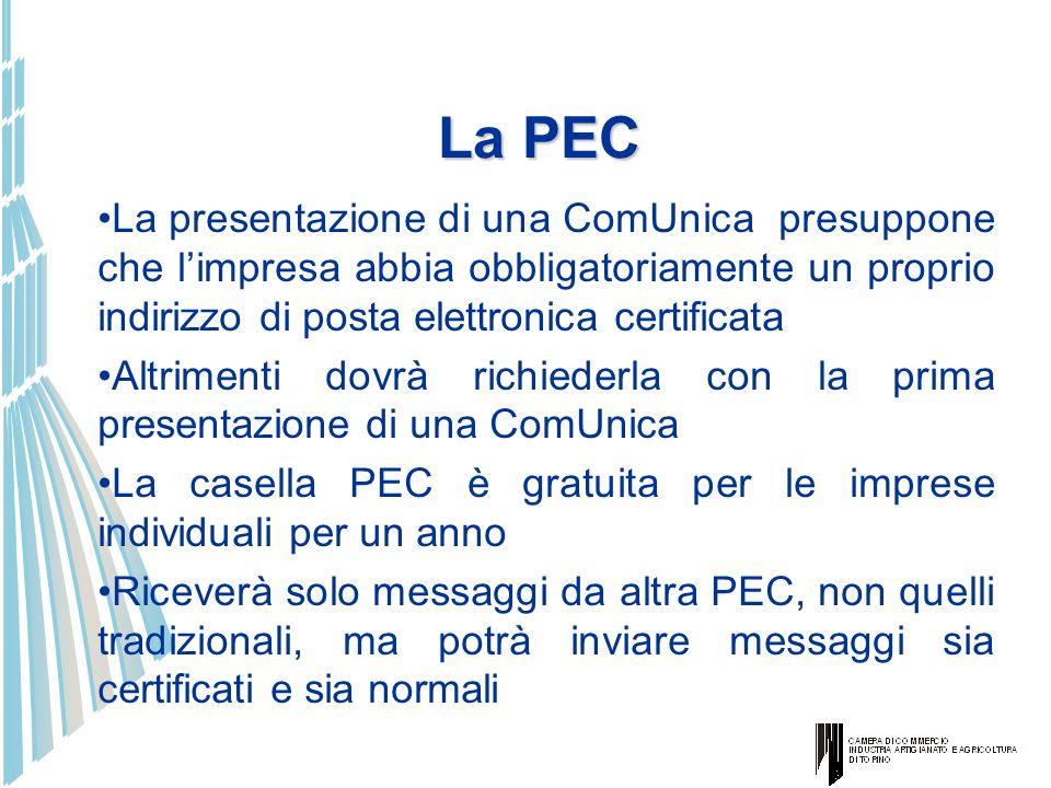 La PECLa presentazione di una ComUnica presuppone che l'impresa abbia obbligatoriamente un proprio indirizzo di posta elettronica certificata.