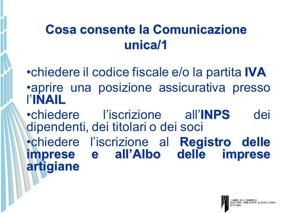Cosa consente la Comunicazione unica/1