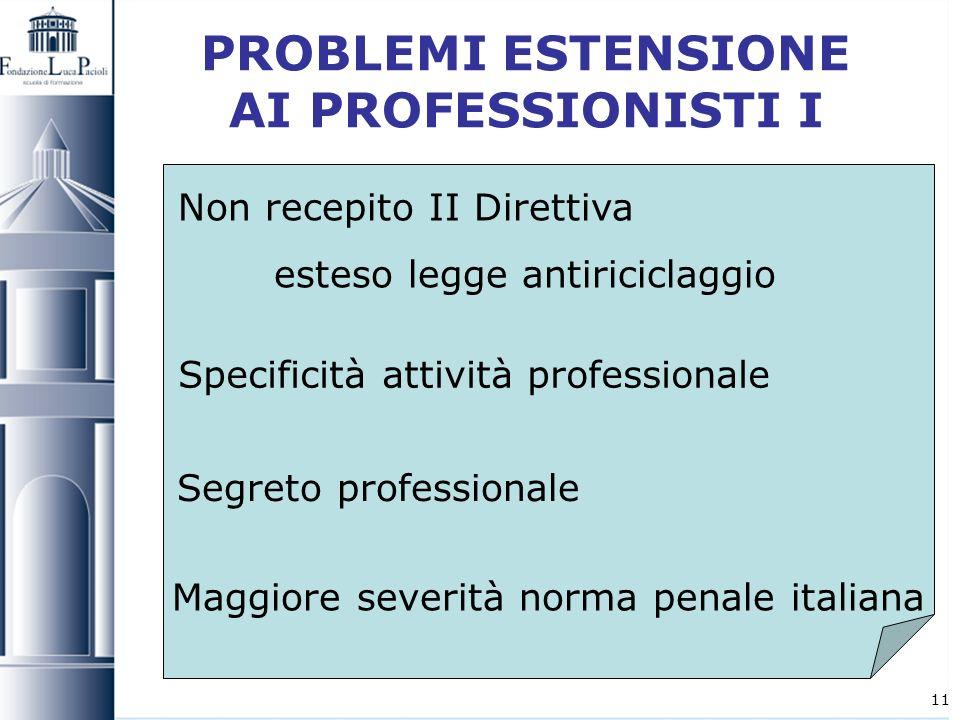 PROBLEMI ESTENSIONE AI PROFESSIONISTI I
