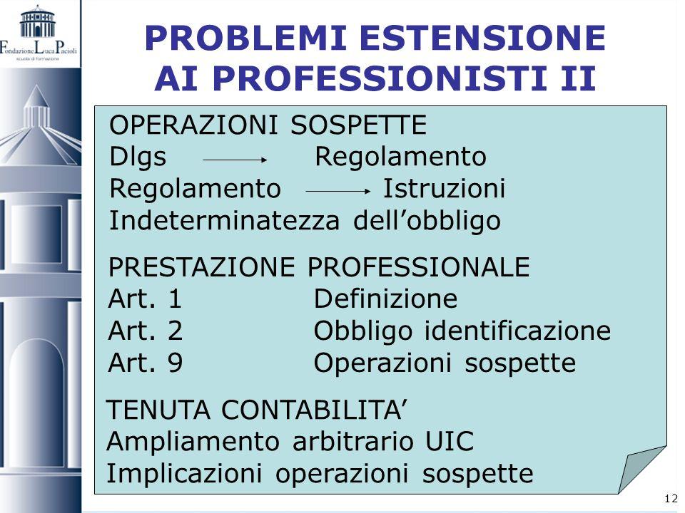 PROBLEMI ESTENSIONE AI PROFESSIONISTI II