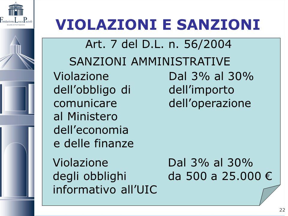 VIOLAZIONI E SANZIONI Art. 7 del D.L. n. 56/2004