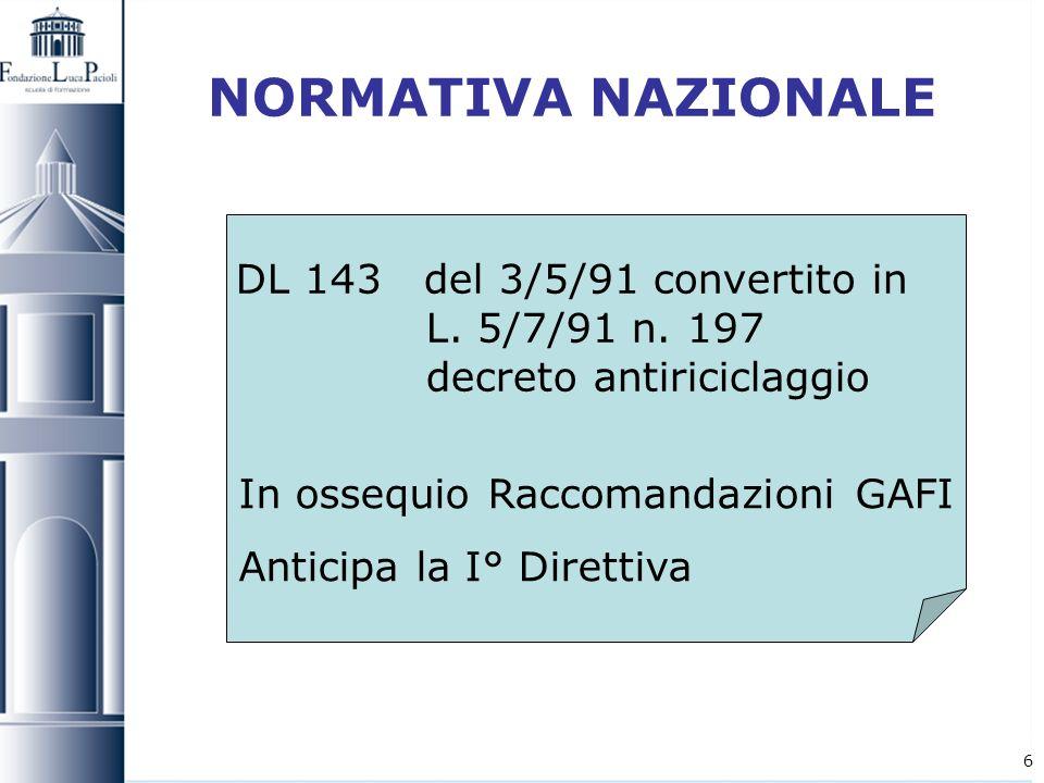 NORMATIVA NAZIONALE DL 143 del 3/5/91 convertito in L. 5/7/91 n. 197