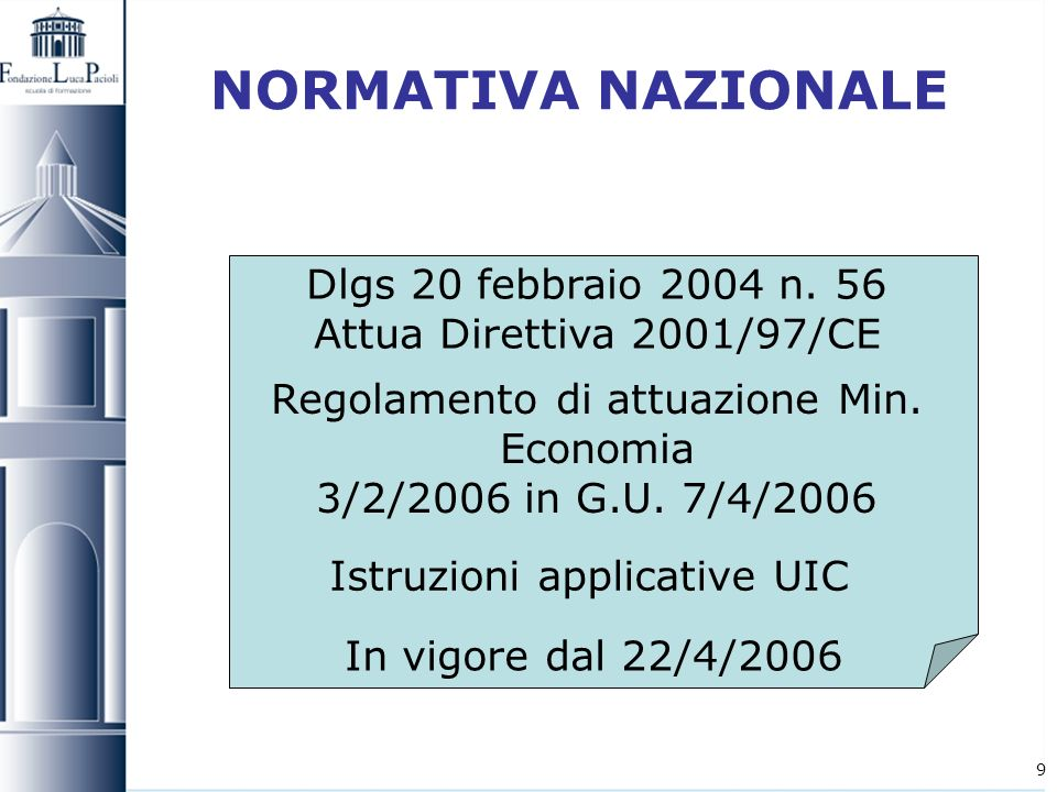 NORMATIVA NAZIONALEDlgs 20 febbraio 2004 n. 56 Attua Direttiva 2001/97/CE. Regolamento di attuazione Min. Economia.
